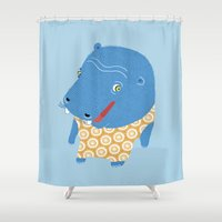 hippo Shower Curtains featuring Hippo by Jennifer Nystedt