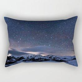 Starry Night Sky Winter Mountain Rectangular Pillow