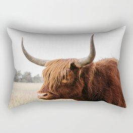 Scottish Highlander cow in national park | Cattle in Nature | Veluwe park, the Netherlands | Travel photography Rectangular Pillow