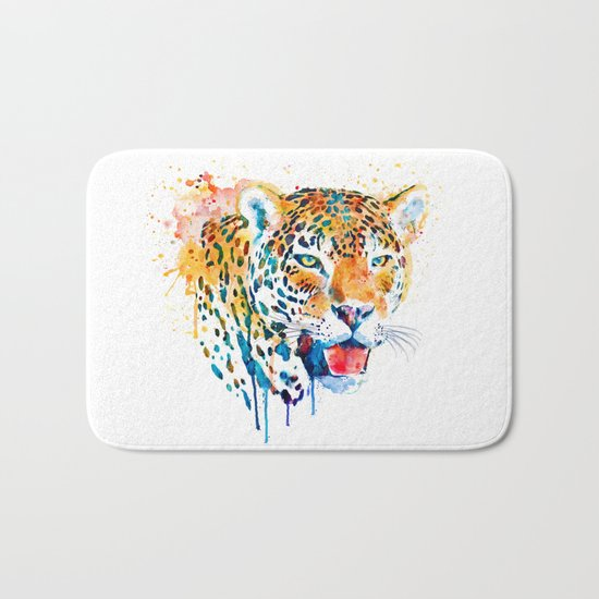 Leopard Head Portrait Bath Mat