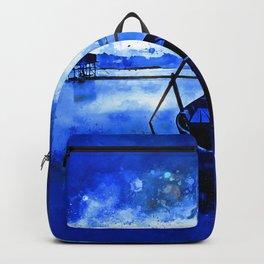 sunrise boat silence watercolor splatters cool blue Backpack