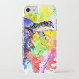 Sea Turtle in Coral Reef design, sea world colorful coral sea world design iPhone Case