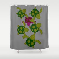 turtles Shower Curtains featuring Turtles  by MillennialBrake