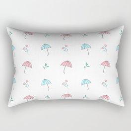 Modern hand drawn pastel pink teal floral umbrella pattern Rectangular Pillow
