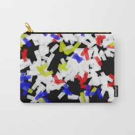 Primary Strokes - Abstract, primary colour & black and white raw paint brush strokes Carry-All Pouch