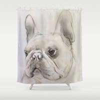 frenchie Shower Curtains featuring Frenchie portrait by Pauline Fowler ( Polly470 )