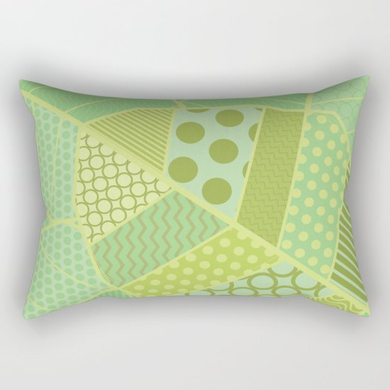 The Unique One (Green Patterned Leaf Patchwork) Rectangular Pillow