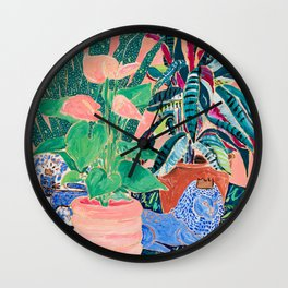 Jungle of House Plants Blush Still Life Painting with Blue Lion Figurine Wall Clock