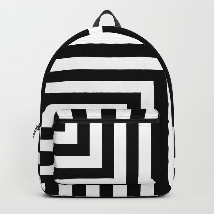 Simple Geometric Cross Pattern- White on Black -Mix & Match with Simplicity of life Backpack