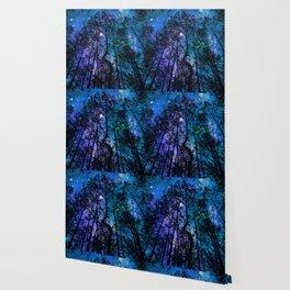 Black Trees Teal Purple Space Wallpaper