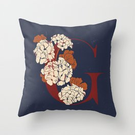 Letter G for Geranium Throw Pillow