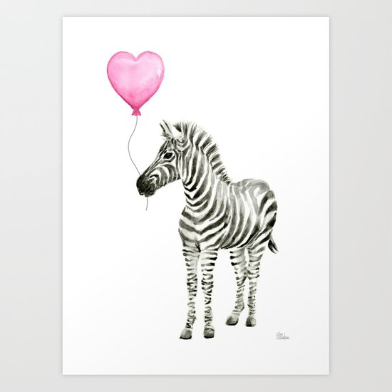 Zebra with Balloon Animal Watercolor Whimsical Animals Art Print
