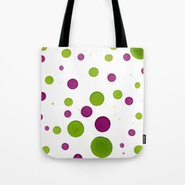 Merry Dots For Christmas With Random Green and Magenta Ink Polka Dots Tote Bag