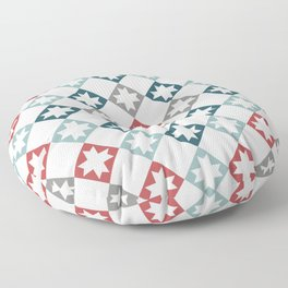 Modern Farmhouse Quilt Pattern Vintage Inspired NorthStar and Diamond Harlequin Print Floor Pillow