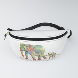 Colorful Elephant Family Fanny Pack