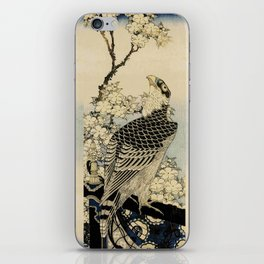 Hokusai -falcon next to a plum tree in bloom - 葛飾 北斎,hawk,bird. iPhone Skin