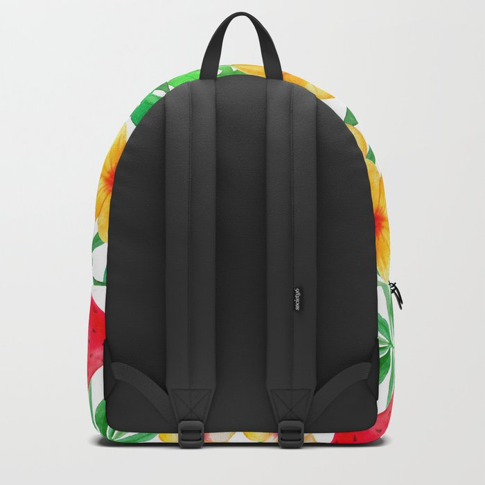 Happy Summer Life- Aloha Flowers and Melon - Pattern on #Society6 Backpack