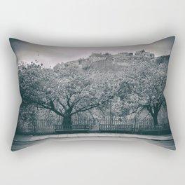 edinburgh castle Scotland vintage style view black and white dirty Rectangular Pillow