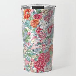 Vintage Pastel Flower Garden Pattern Travel Mug
