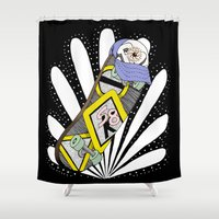 skate Shower Curtains featuring Saint Skate by Jorge Daszkal