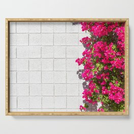 Bougainvilleas and White Brick Wall in Palm Springs, California Serving Tray