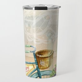 Old bike and flowers watercolor painting Travel Mug