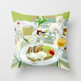 Breakfast at a Hotel Throw Pillow