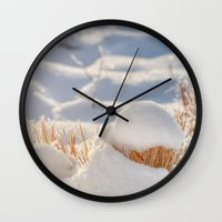 notebook Wall Clocks featuring And finally Winter, with its bitin', whinin' wind, and all the land will be mantled with snow. by UtArt