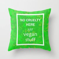 vegan Throw Pillows featuring Vegan by 3533