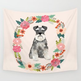 schnauzer floral wreath dog breed pet portrait dog mom Wall Tapestry