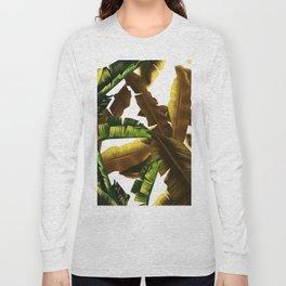 tropical banana leaves pattern gold Long Sleeve T-shirt