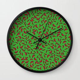 Paprika on Green Wall Clock