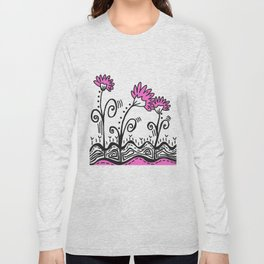 Three Spring Flowers - Pink Long Sleeve T-shirt