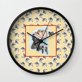 Humpty Dumpty with center image on yellow  Wall Clock