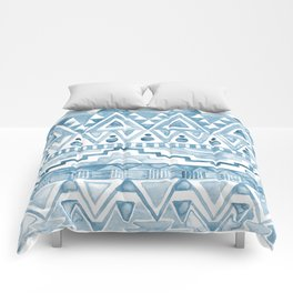 Watercolor Aztec Pattern blue Comforters