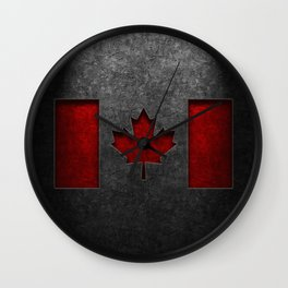 Canadian Flag Stone Texture Wall Clock