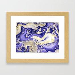 Painting marbled violet and golden Framed Art Print