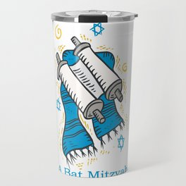 Bat Mitzvah with scroll and shawl  Travel Mug