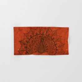Doodle peacock on red Hand & Bath Towel