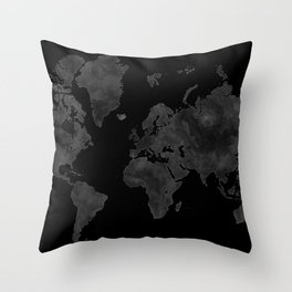 "Black and gray watercolor world map ""Coal mine"" Throw Pillow"