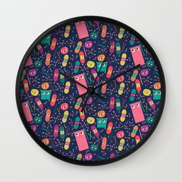 yarn party people blue Wall Clock
