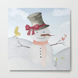 Winter Wonderland- Snowman and birds - Watercolor illustration Metal Print