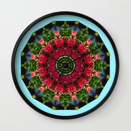 Red blossoms 001.5, Floral mandala-style Wall Clock
