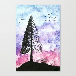 Silhouette of pine tree Canvas Print