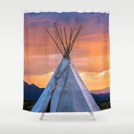 Southwest Teepee Sunset With Bird Shower Curtain