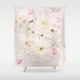 Soft Pink Flower Petals and White Flowers Shower Curtain