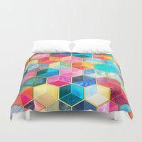 hexagon Duvet Covers featuring Crystal Bohemian Honeycomb Cubes - colorful hexagon pattern  by micklyn