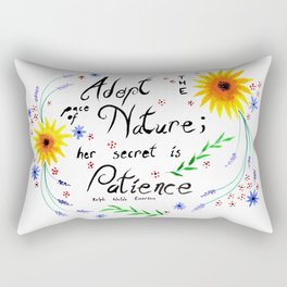 Pace of Nature Watercolor Typography with Flowers Rectangular Pillow