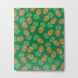 Pineapple Pattern Green Metal Print