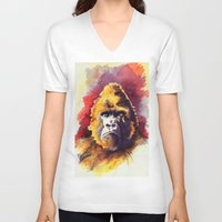 ape V-neck T-shirts featuring APE by Chris Brothers
